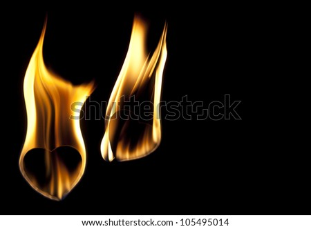 hearts in fire abstract background - stock photo