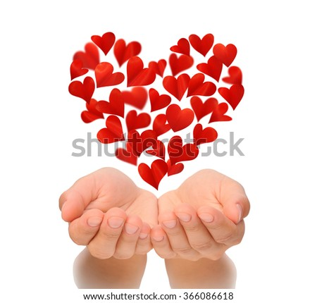 Hearts in heart shape flying over cupped hands of young woman, birthday card, Valentine's Day, Happy Valentines, Valentine card, love concept, isolated on white background, health insurance, cut out - stock photo