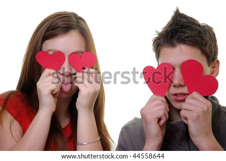 Hearts instead of eyes - stock photo