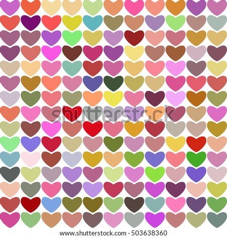Hearts multicolored bright background, raster version