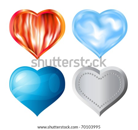 Hearts of fore elements: fire, air, water, metal. - stock photo