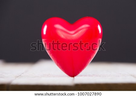 Hearts on old wood. Background Valentines Day