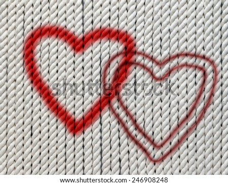 hearts on the cotton twine - stock photo