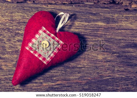 hearts on wooden background. valentines day