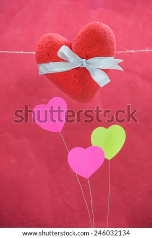 hearts red, background, red - stock photo