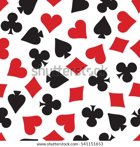 Hearts, spades, clubs and diamonds card suits background. Repeating tileable illustration that repeats left, right, up and down