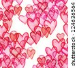 Hearts watercolor seamless pattern - stock photo