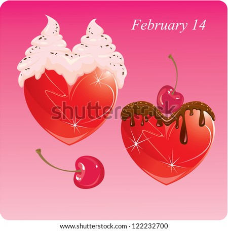 Hearts with chocolate and cream. Valentines Card. Raster Version - stock photo