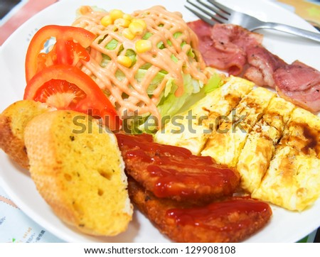 hearty breakfast - stock photo
