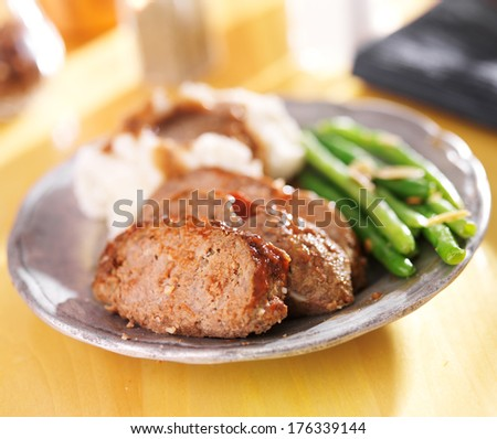 hearty meatloaf dinner with sides - stock photo
