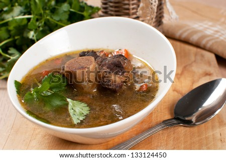 Hearty soup with bone-in ox tail meat - stock photo