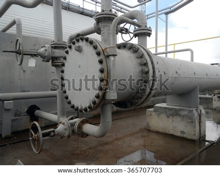 Heat exchangers for heating of oil . Oil refinery. Equipment for primary oil refining.