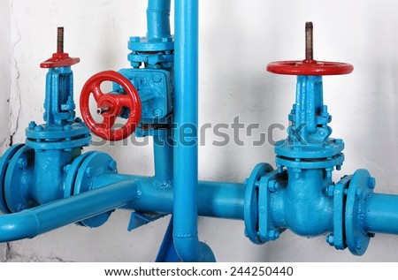Heat power communication - pipelines and stop valve hot water and heating - stock photo