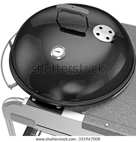 Heat-resistant pot with a thermometer temperature control, zoomed view. 3D graphic object on white background