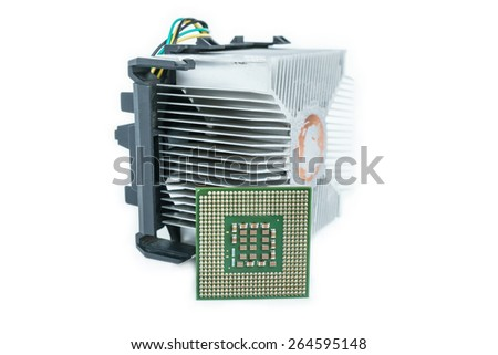 heat-sink with cpu in isometric bottom view - stock photo