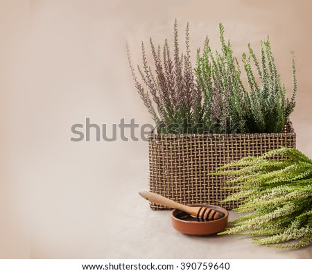 Heather honey and flowers on beige background - stock photo