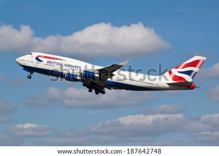 HEATHROW, LONDON, UK - April 10: British Airways Boeing 747 (G-BYGF) taking off on April 10, 2014 at London Heathrow Airport, London, UK.  - stock photo