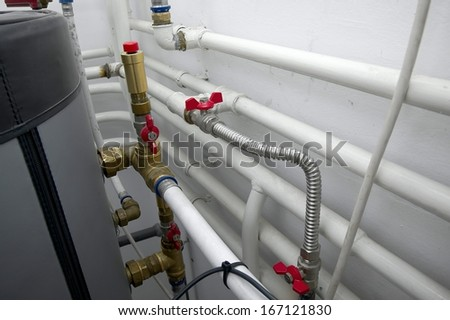 Heating pipes - stock photo