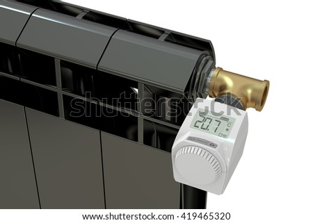 heating radiator with digital radiator thermostatic valve, 3D rendering - stock photo