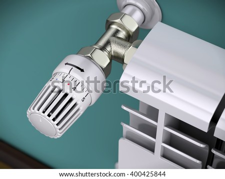 Heating radiator with thermostat. 3d rendering