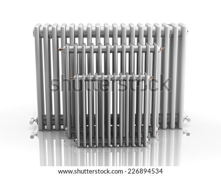 Heating radiators - 3D rendering - stock photo