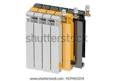 heating radiators with radiator thermostatic valves, 3D rendering - stock photo