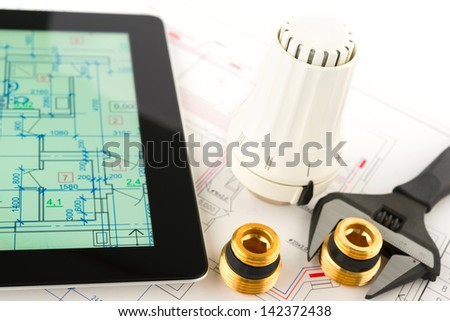 Heating system development. Professional tools and devices. - stock photo