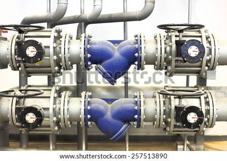 heating system with hydrants - stock photo
