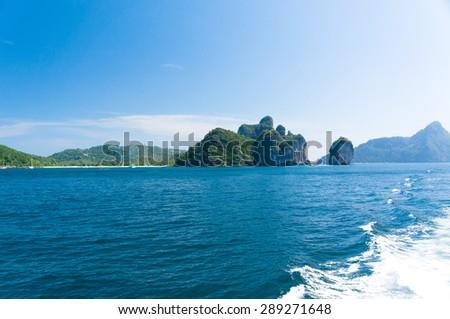Heaven Horizon Lagoon Mountains  - stock photo