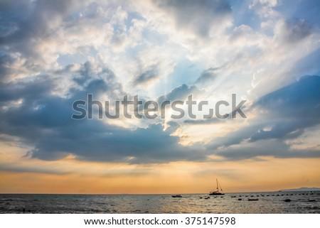 Heaven Light to the sea in Pattaya,Thailand - stock photo