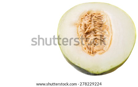 Heaven melon slice, Malaysian hybrid sweet melon fruit over white background - stock photo