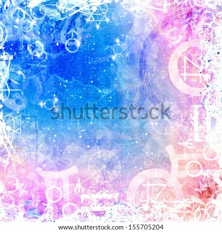 heavenly beautiful light background with magical symbols - stock photo