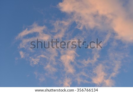 Heavenly landscape. Pink clouds - stock photo
