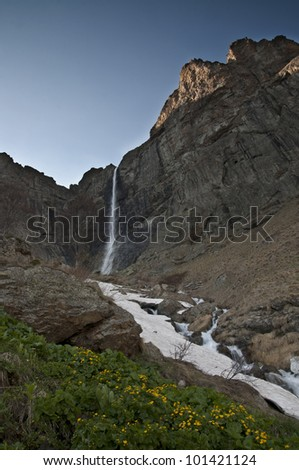 Heavenly waterfall -l The biggest waterfall in Bulgaria - stock photo