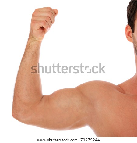 Heavily muscled upper arm of a man. All on white background.