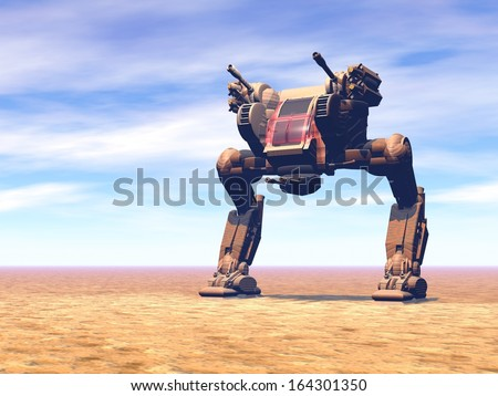 Heavy armed Mechanized Intelligent Vehicle at the desert. Original creation and modeling by the author. - stock photo