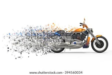 Heavy bike - disintegration FX - stock photo