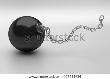 heavy black ball with long iron chain, 3D Rendering - stock photo