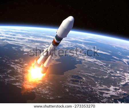 Heavy Carrier Rocket Launch. 3D Scene. Elements of this image furnished by NASA.  - stock photo