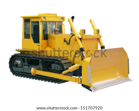 Heavy crawler bulldozer isolated on a white background