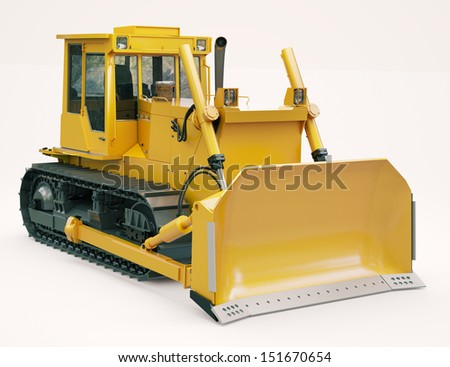 Heavy crawler bulldozer on a light background