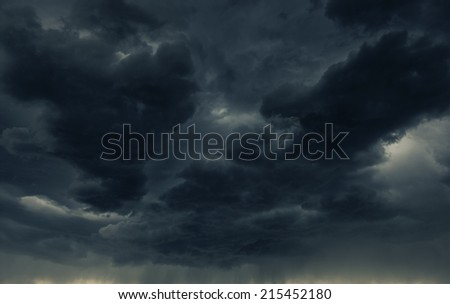 Heavy Dark Storm Cloud and the Falling Rain. Stormy Weather - stock photo