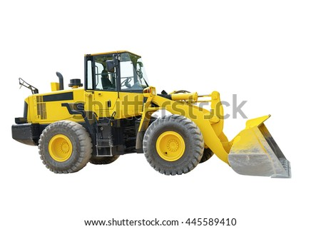 Heavy duty construction digger excavator equipment, Yellow excavator on a construction site isolated on white background. This has clipping path.