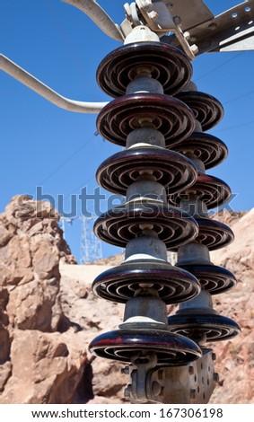 Heavy duty electric power pole ceramic wire isolator closeup - stock photo