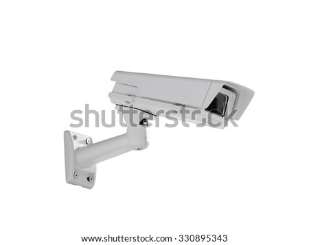 Heavy duty exterior surveillance camera side view isolated on white background