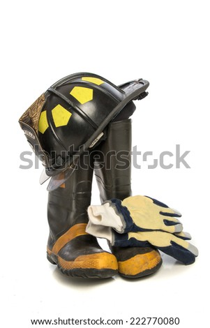 Heavy Duty Protective Fire Fighting Cloth, Boots, Gloves, Helmet, Isolated on White Background - stock photo