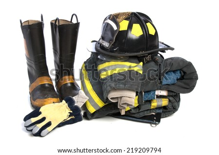 Heavy Duty Protective Fire Fighting Cloth, Boots, Gloves, Helmet, Jacket, Pants, Isolated on White Background - stock photo