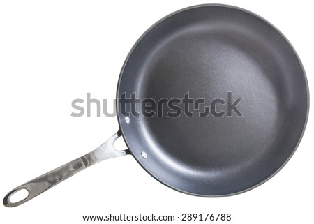 Heavy Duty Teflon Frying Pan, Isolated on White Background. - stock photo