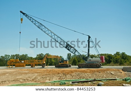 Heavy equipment at a road construction site