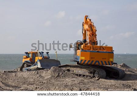 Heavy Equipment on the beach - stock photo